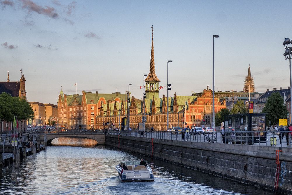 Copenhagen Stock Exchange at Sunset