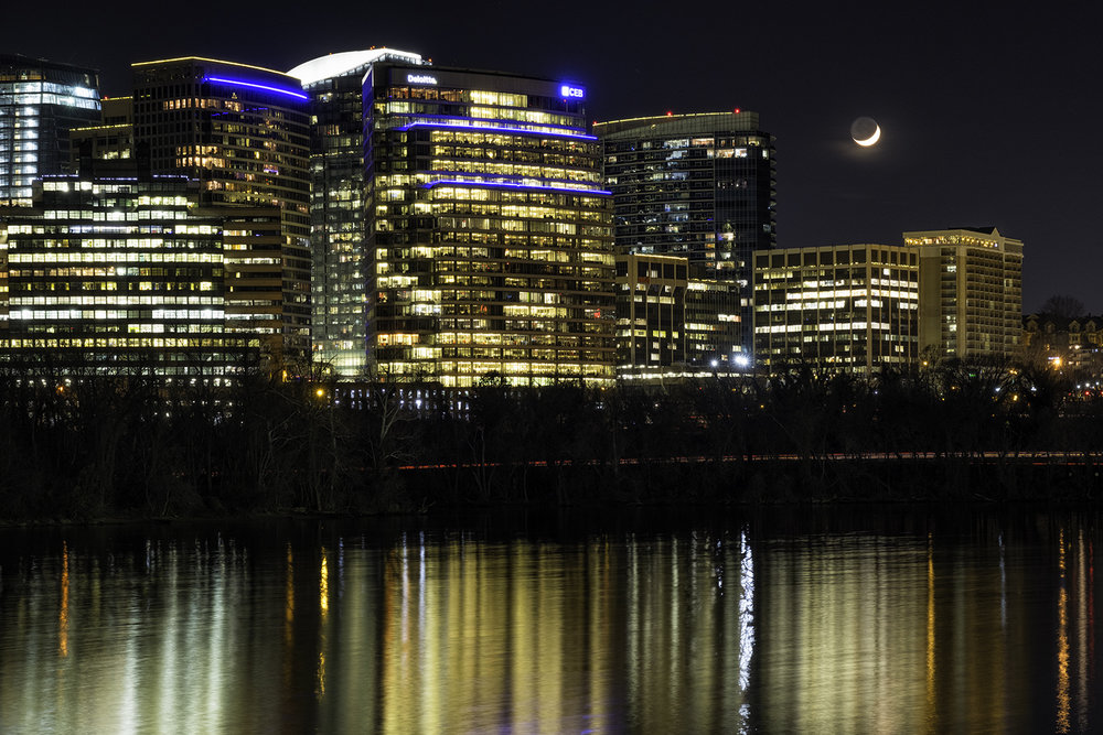 Moonrise over Rosslyn, December Evening