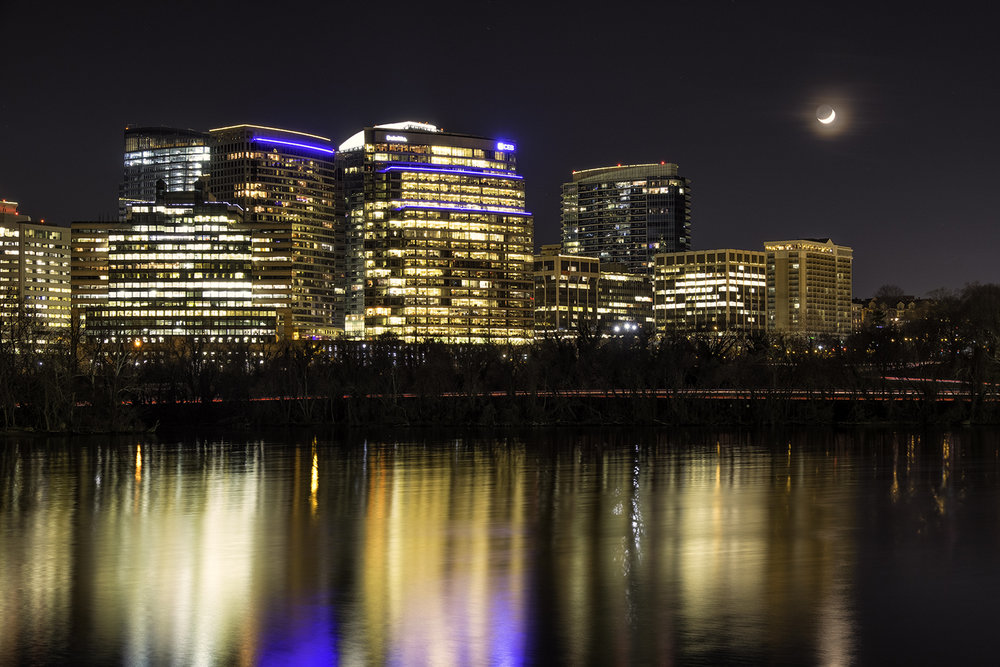 December Moonrise over Rosslyn VA