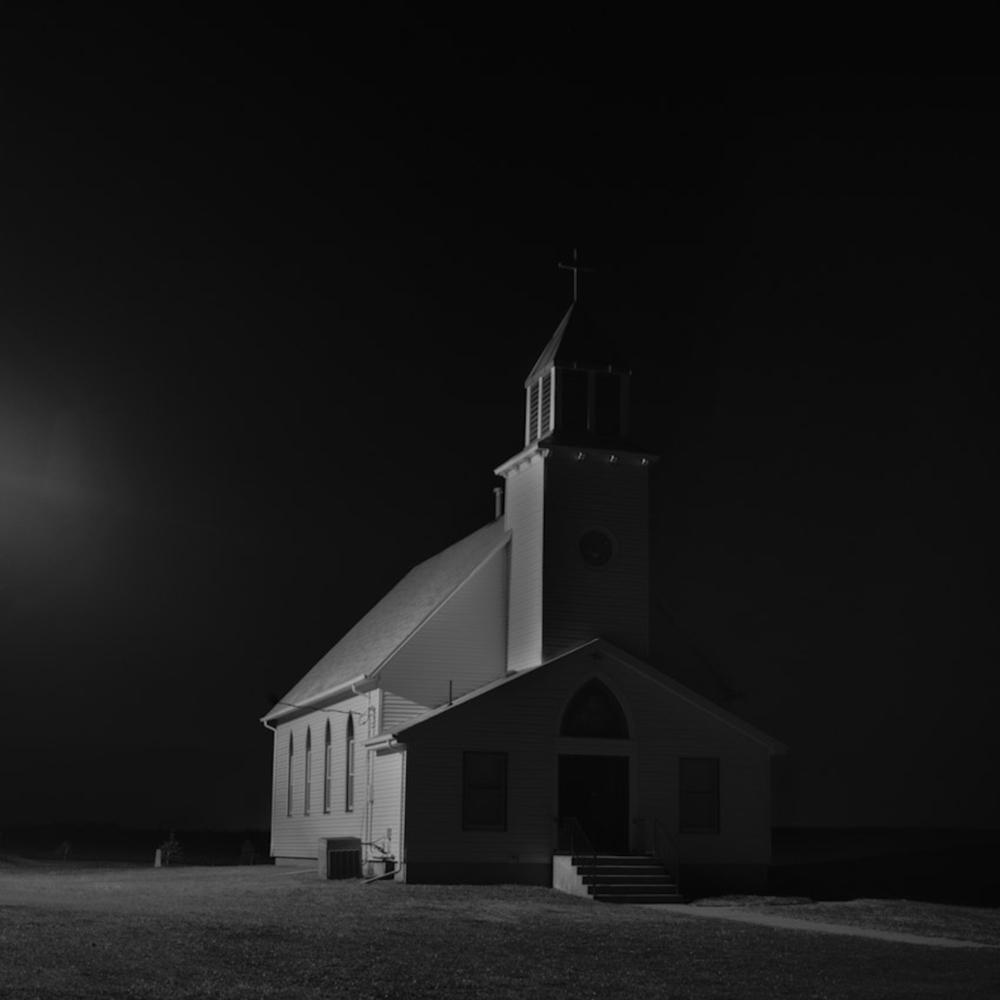 Waco Nebraska Church, Nebraska Landscape Photography, Fine Art Black and White Photography, Nebraska Black and White Photography, Great Plains Landscape Photography, Nebraska Photography.