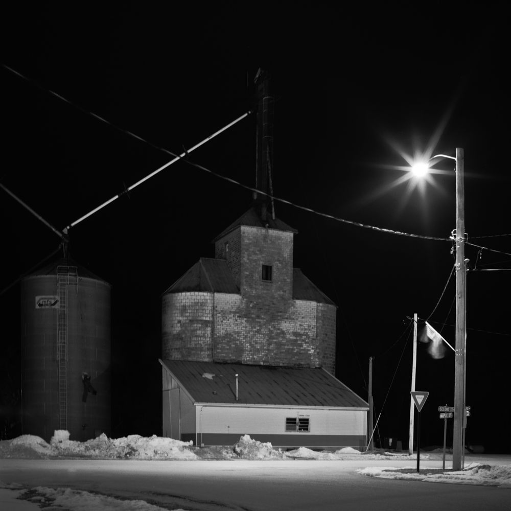 Grain Elevator at Night,Valparasio, Nebraska, Fine Art Black and White Photography, Nebraska Black and White Photography, Great Plains Landscape Photography, Nebraska Photography.