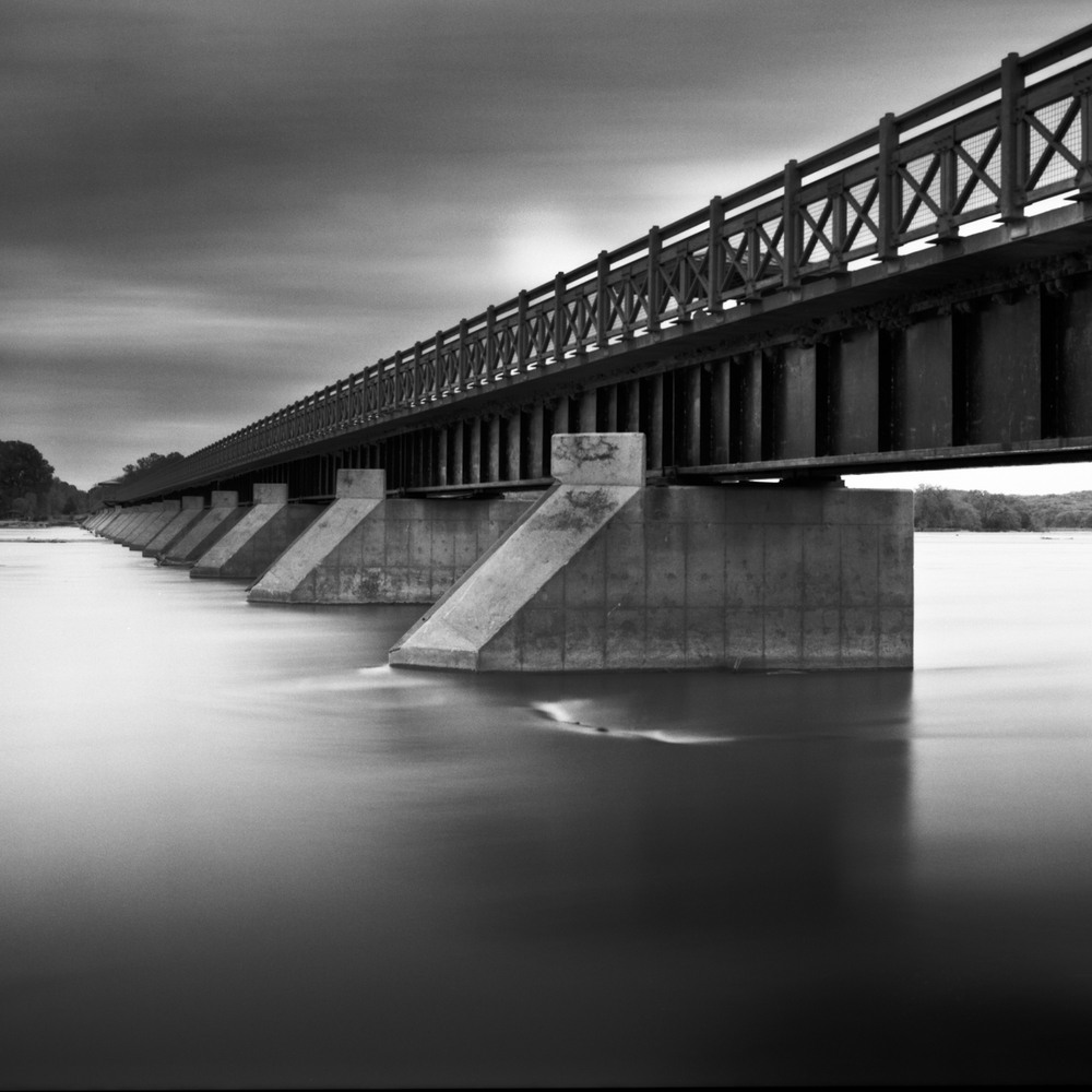 Foot Bridge over Platte River, Nebraska Landscape Photography, Fine Art Black and White Photography, Nebraska Black and White Photography, Great Plains Landscape Photography, Nebraska Photography.