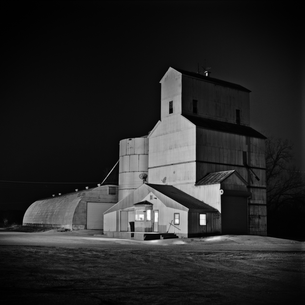Grain Elevator at Night, Nebraska Landscape Photography, Fine Art Black and White Photography, Nebraska Black and White Photography, Great Plains Landscape Photography, Nebraska Photography.