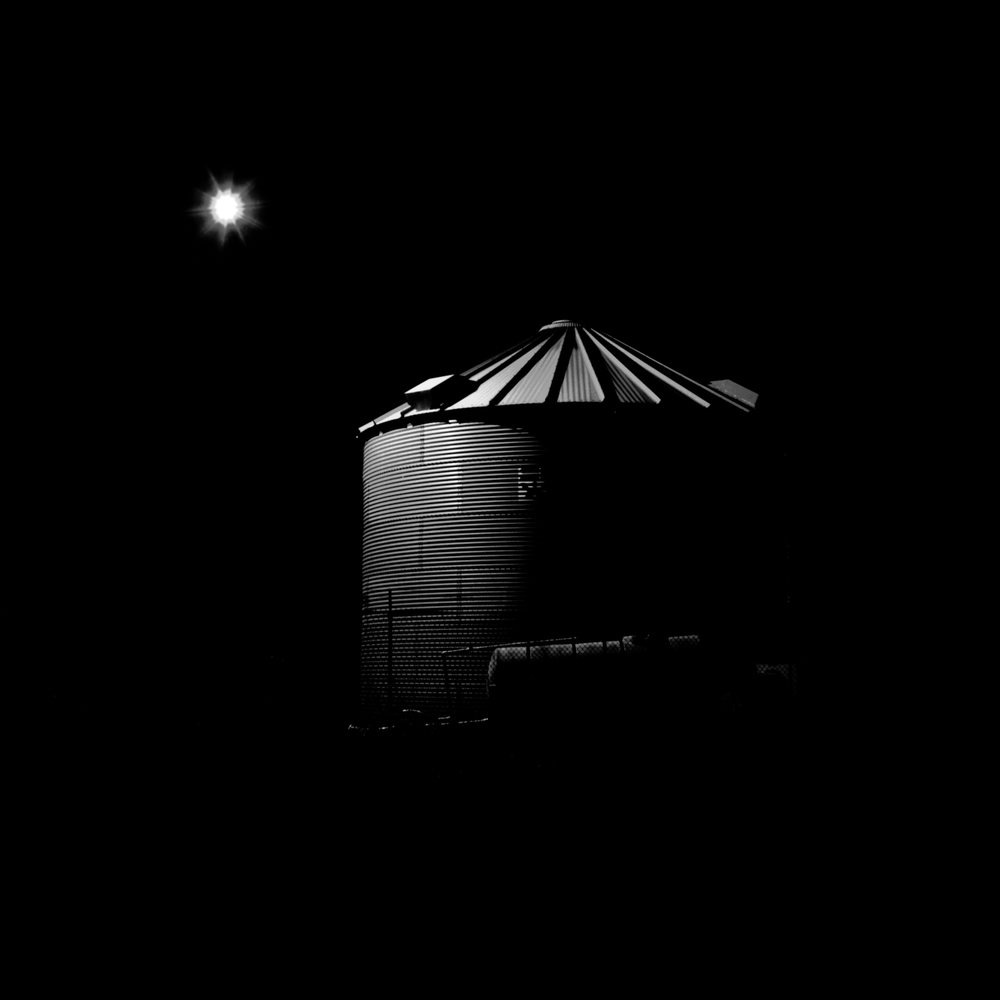 Grain Bin at NIght, Lincoln, Nebraska, Fine Art Black and White Photography, Nebraska Black and White Photography, Great Plains Landscape Photography, Nebraska Photography.