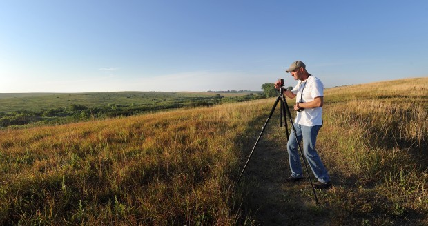 David McCleery with Pin Hole Camera, July 20, 2012, Spring Creek Prairie Audubon Center, Nebraska.