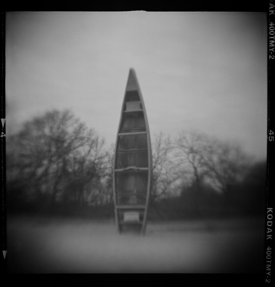Summer Abandoned, Canoe in Sand, Pinhole Photograph, David McCleery