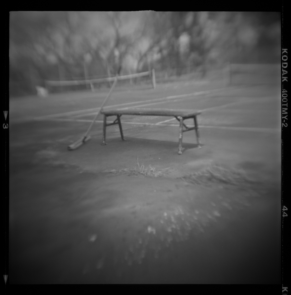 Summer Abandoned, Tennis Bench, Pinhole Photography, 2018, David McCleery