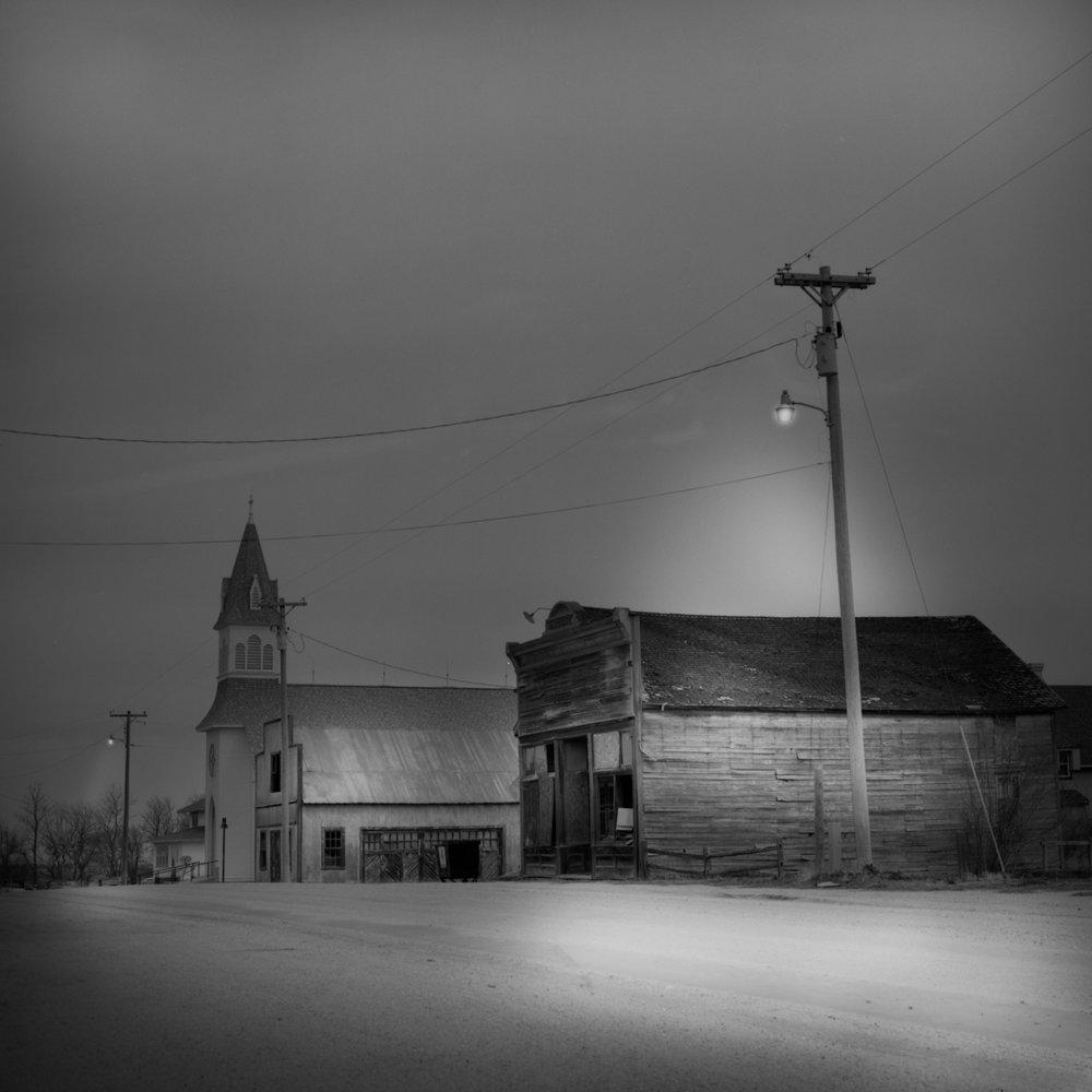 Loma, Nebraska, at Dusk in Snow, David McCleery