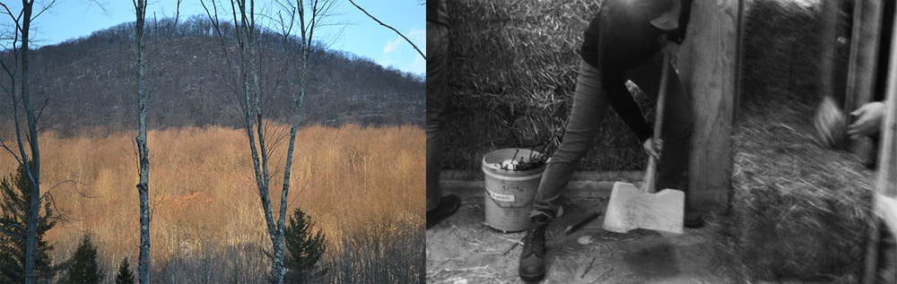 "Left: Rural Vermont site context // Right: Action shot using ""The Persuader"" to align strawbale insulation"