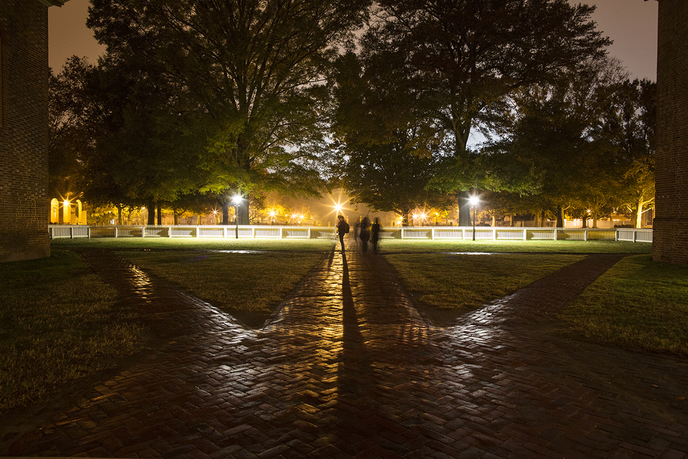 View toward the Sunken Garden from the steps of the Wren Building. College of William & Mary, November 2014. Photo: BP