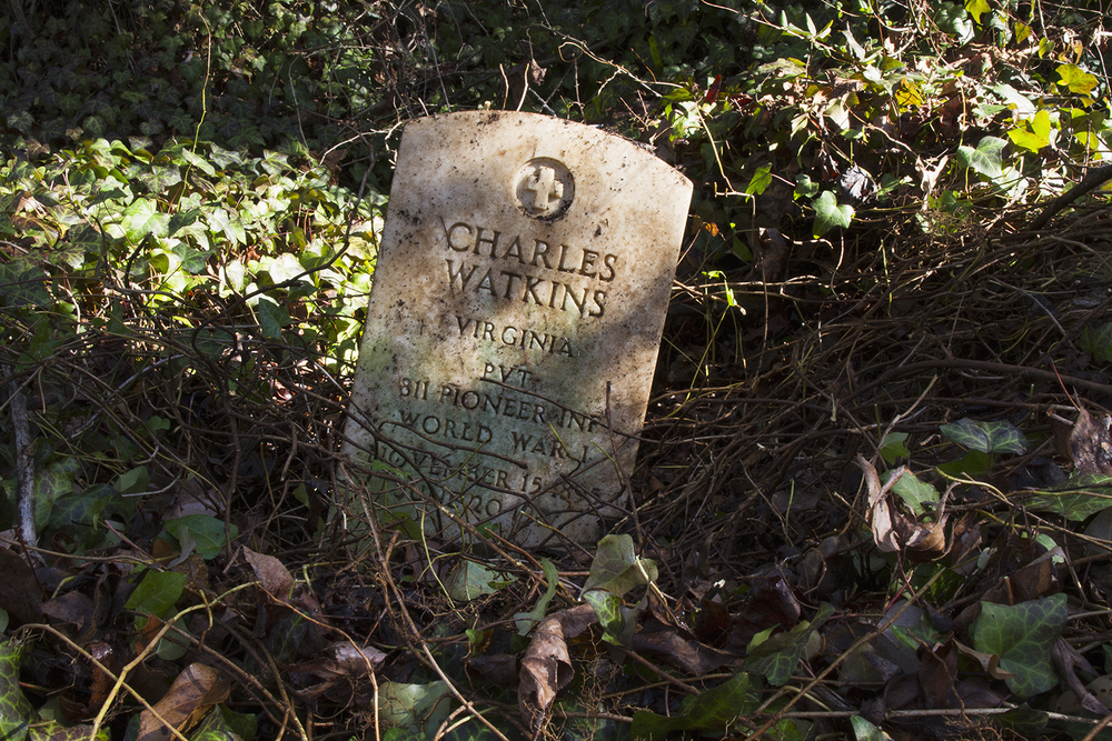 Recently revealed grave of Charles Watkins in a largely uncleared section of East End Cemetery, January 2015. ©brianpalmer.photos 2015