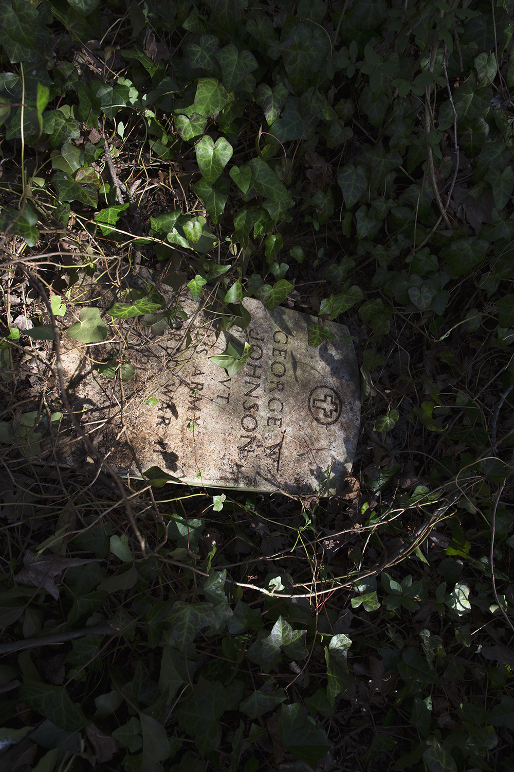 Toppled headstone, East End Cemetery, Henrico County and Richmond, Virginia, February 2015. ©brianpalmer.photos 2015