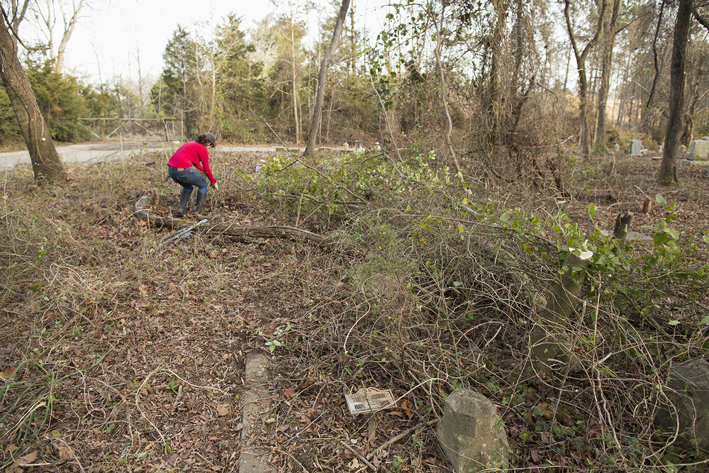 Erin clears a plot during a work day, East End Cemetery, Henrico County and Richmond, Virginia, February 2015. ©brianpalmer.photos 2015
