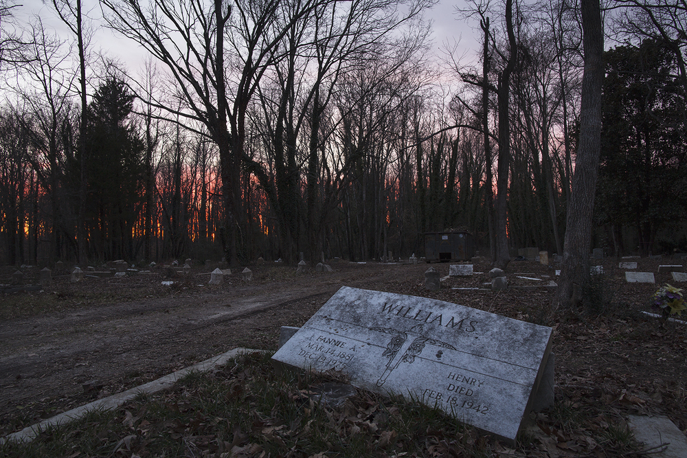Sundown at East End Cemetery, Henrico County and Richmond, Virginia, February 2015. ©brianpalmer.photos 2015