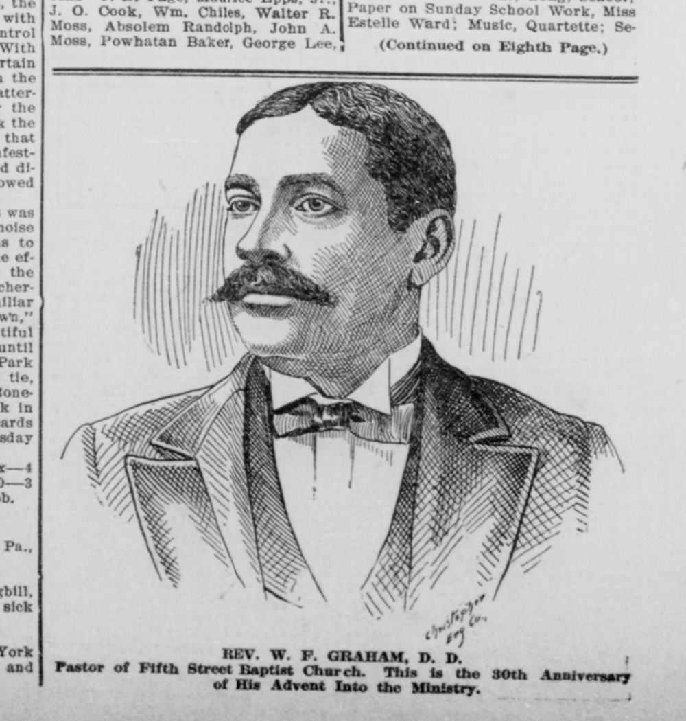 Portrait of the Rev. W. F. Graham, then pastor of Fifth Street Baptist Church in Richmond, Virginia, from the  Richmond Planet,  June 11, 1910. Photo: ChroniclingAmerica.gov/Library of Congress