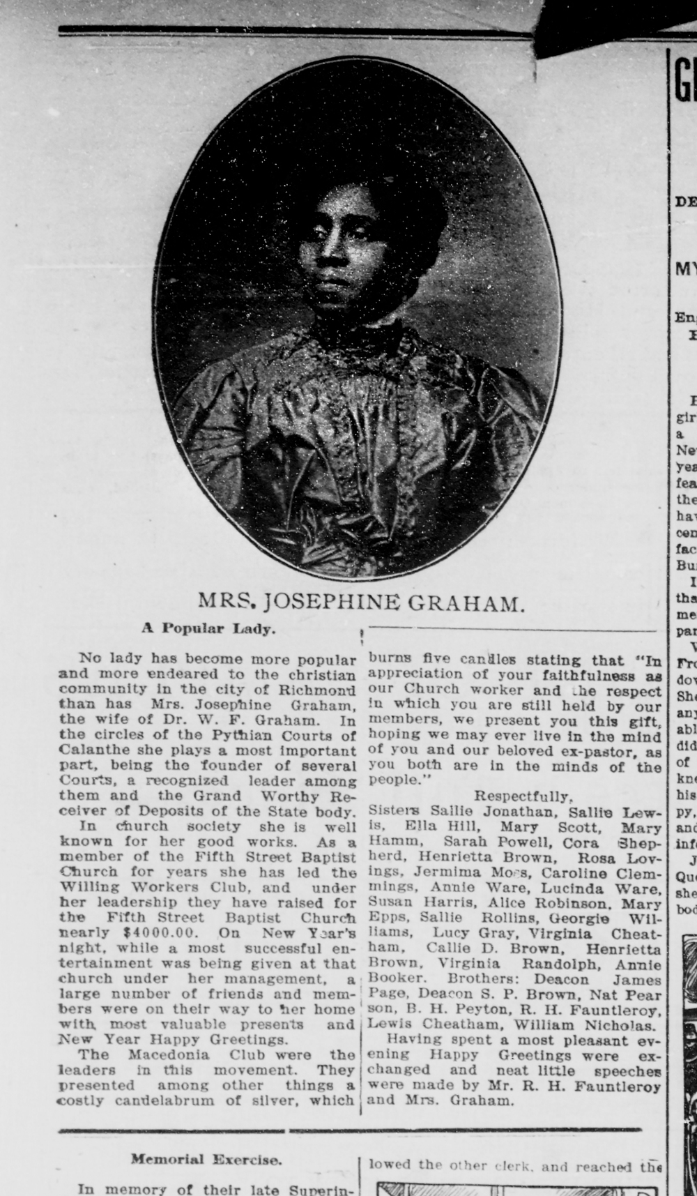 An homage to Josephine A. (Shields) Graham in the  Richmond Planet,  January 6, 1906. ChroniclingAmerica.gov/Library of Congress