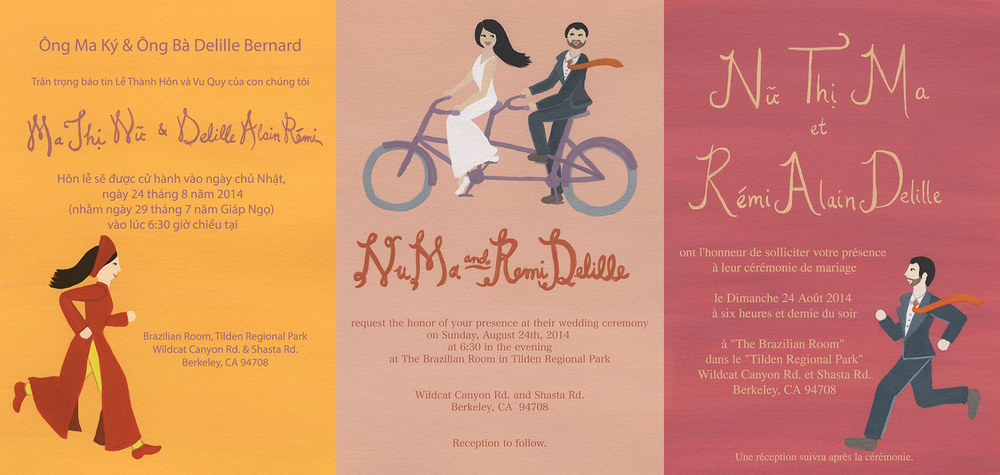 Our friends wanted to invite their respective Vietnamese and French family members in a trilingual wedding invitation.