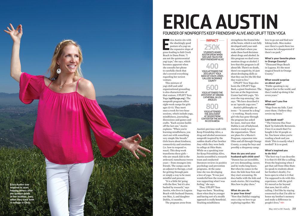 UPLIFT's Erica Austin /OC Family Magazine, May 2017