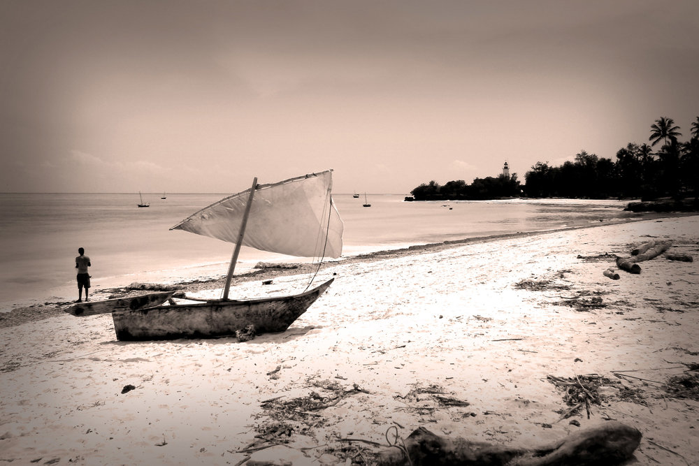 Fisherman boat on the Sand, Zanzibar