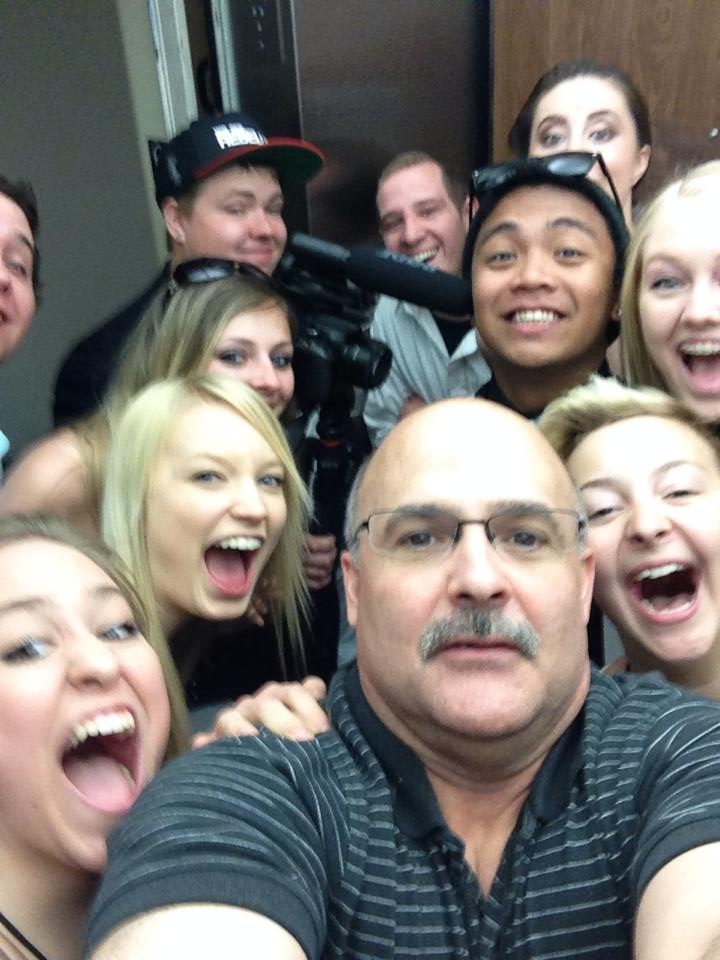 "Photo Credit: Erik Sohner  This was part of my crew of crowd members. Erik's very accurate caption to this photo on Facebook: "" Elevator ride with cast and crew of the prom shot at   #recspokane .  The fear in my face is real!"""