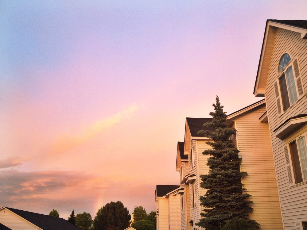One of the prettiest skies (and a rainbow) that I've ever seen, right outside my apartment.