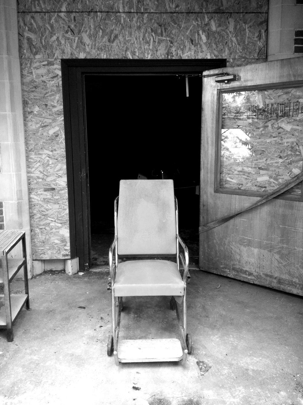 Abby and I took a trip down to Colfax for a day in the summer and snuck around at the abandoned hospital. I ended up shooting a composite sitting in this chair. Sitting in this chair was definitely a surreal experience!