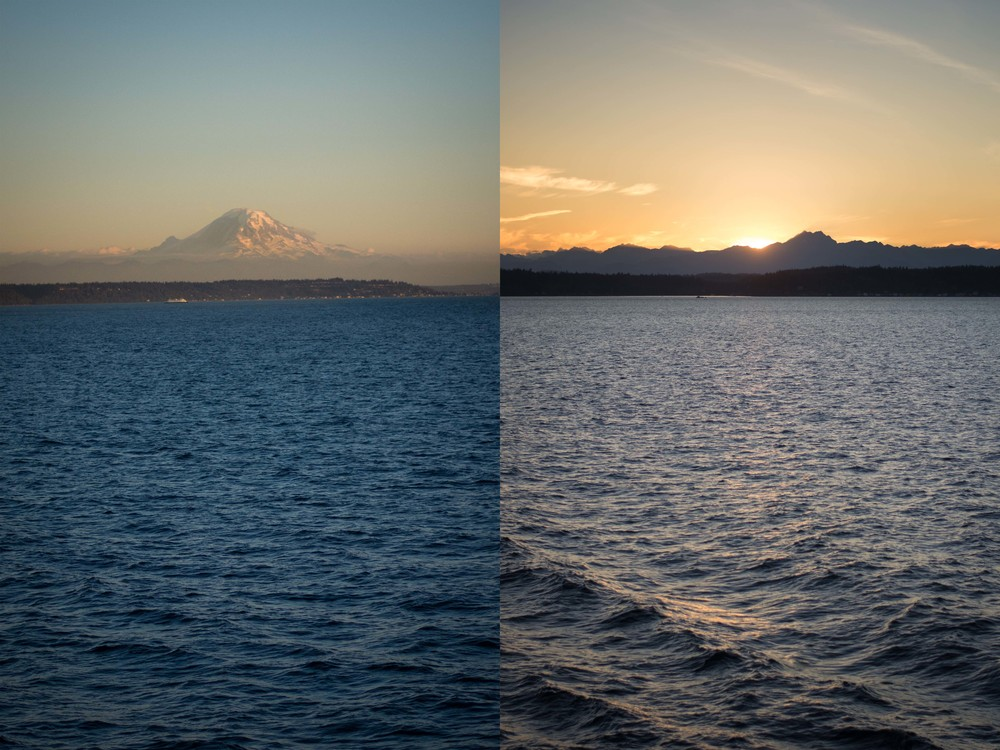Mt. Rainier and the cascades, both seen from the ferry ride from Bremerton to Seattle