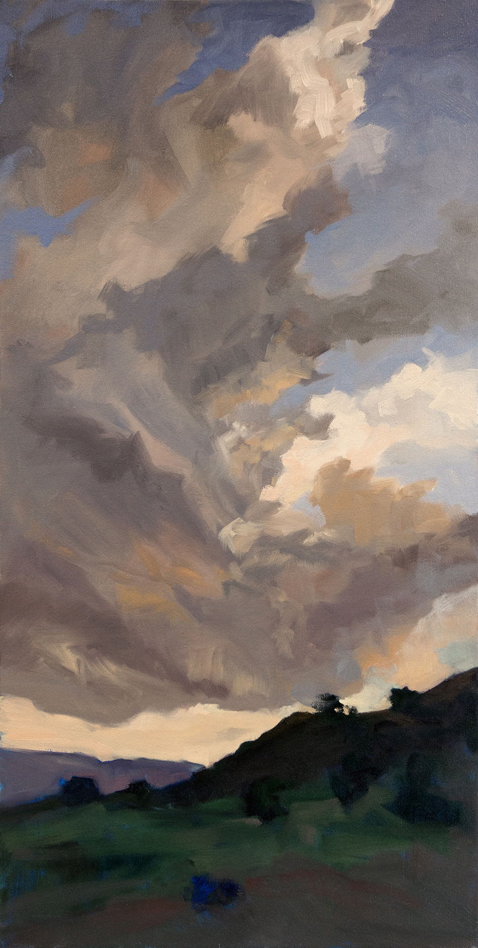 """Blowing Through Abiquiu""  Oil on Canvas  36"" x 18""  $2000 Unframed"