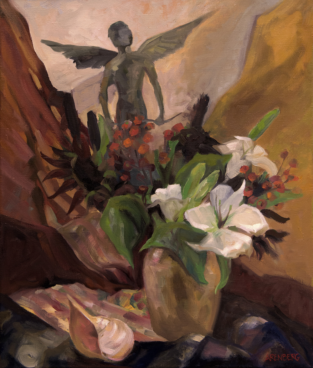 """""""Kissed by a Lily"""" Oil on Linen 24"""" x 20""""  $2400 framed"""
