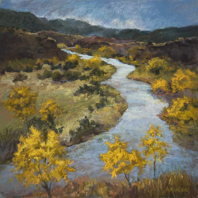 """Chama River Changes""  Pastel on Sanded Paper  24"" x 24""  $2200 Framed"