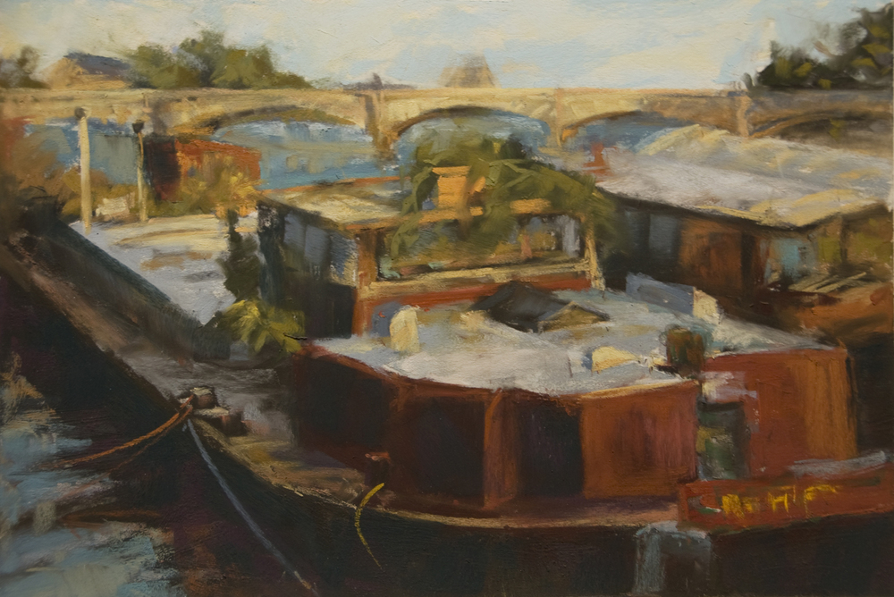 """Barges on the Seine""  12"" x 18""  $900 unframed"
