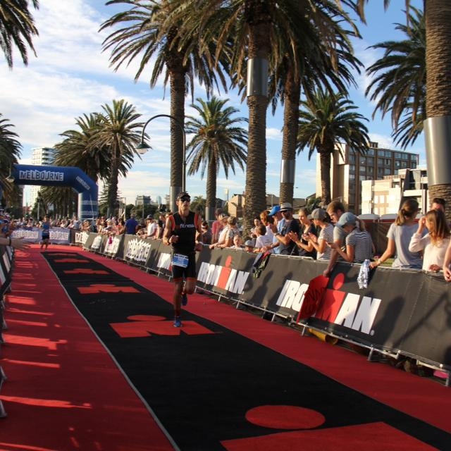 Justin just about to complete his first Ironman!