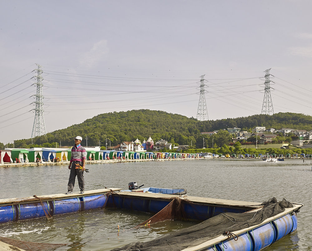 Stocked fishing lake, Damwon-gu, South Korea, 2016