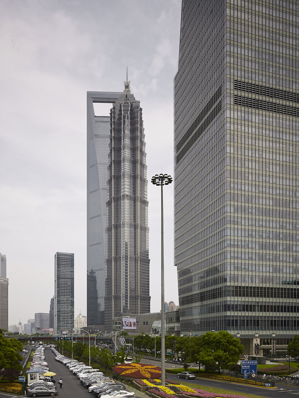 Pudong buildings and parking space, Shanghai, China, 2017