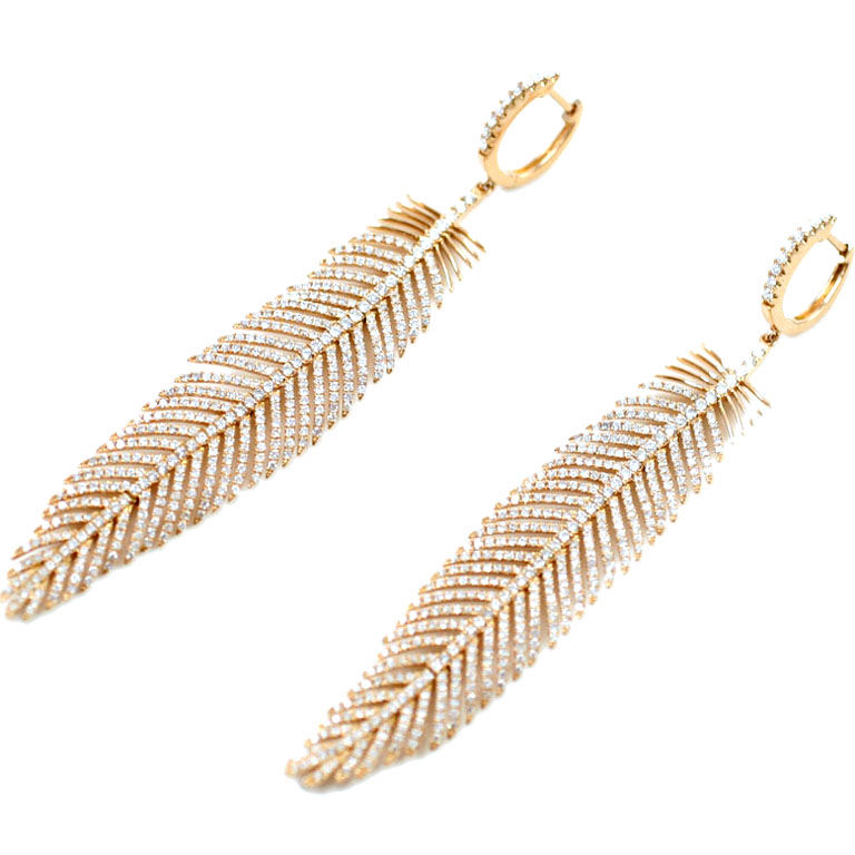 18K Rose Gold and Diamond Feather Earrings Jeri Cohen Fine Jewelry