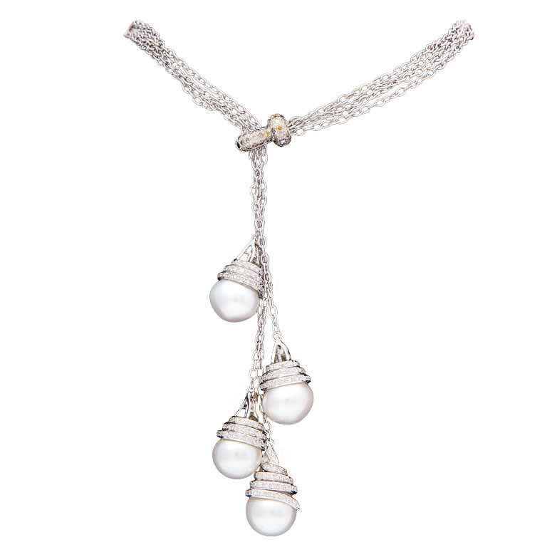 Diamond and white pearl multi tiered drop pendant necklace jeri diamond and white pearl multi tiered drop pendant necklace jeri cohen fine jewelry aloadofball Choice Image
