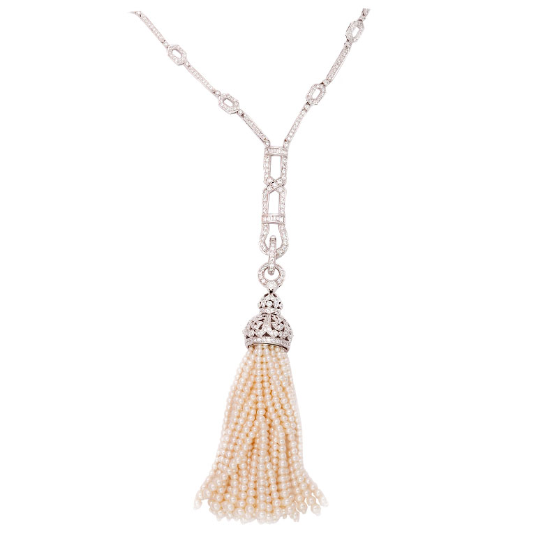 Fabulous Diamond and Pearl Tassel Necklace — Jeri Cohen Fine Jewelry UD36