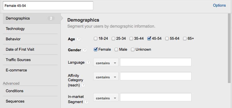 google analytics advanced segment