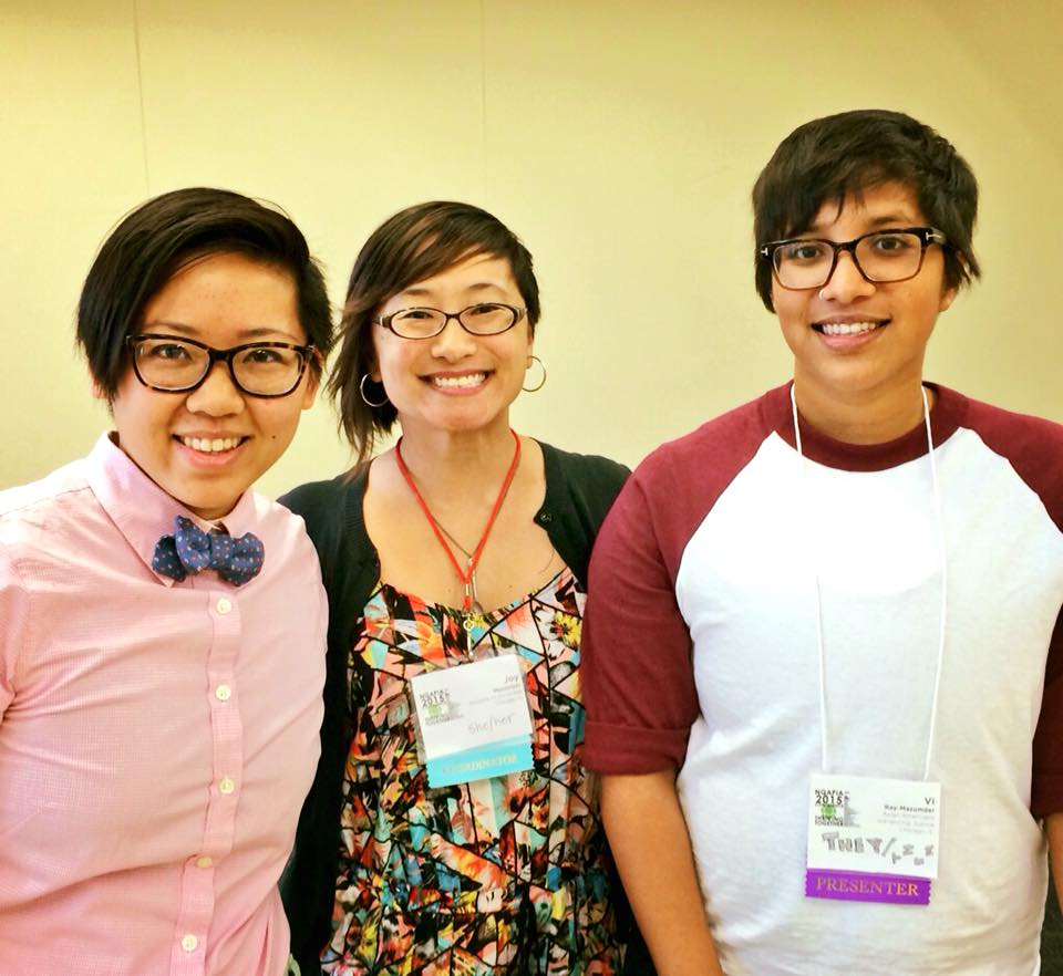 "Nebula Li, Joy Messinger, and VI Ray-Mazumder were the three panelists on ""Building Movements for LGBTQ Economic Security."""
