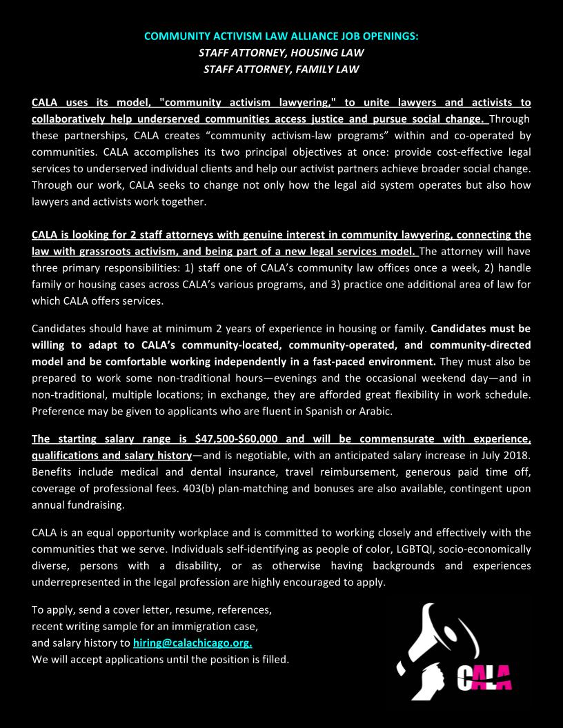 Updates — CALA: Community Activism Law Alliance