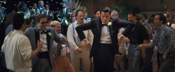Try, if you can, to tear your eyes away from the DiCaprio pop-and-lock, and focus on Jonah Hill's tux. What the hell, man?
