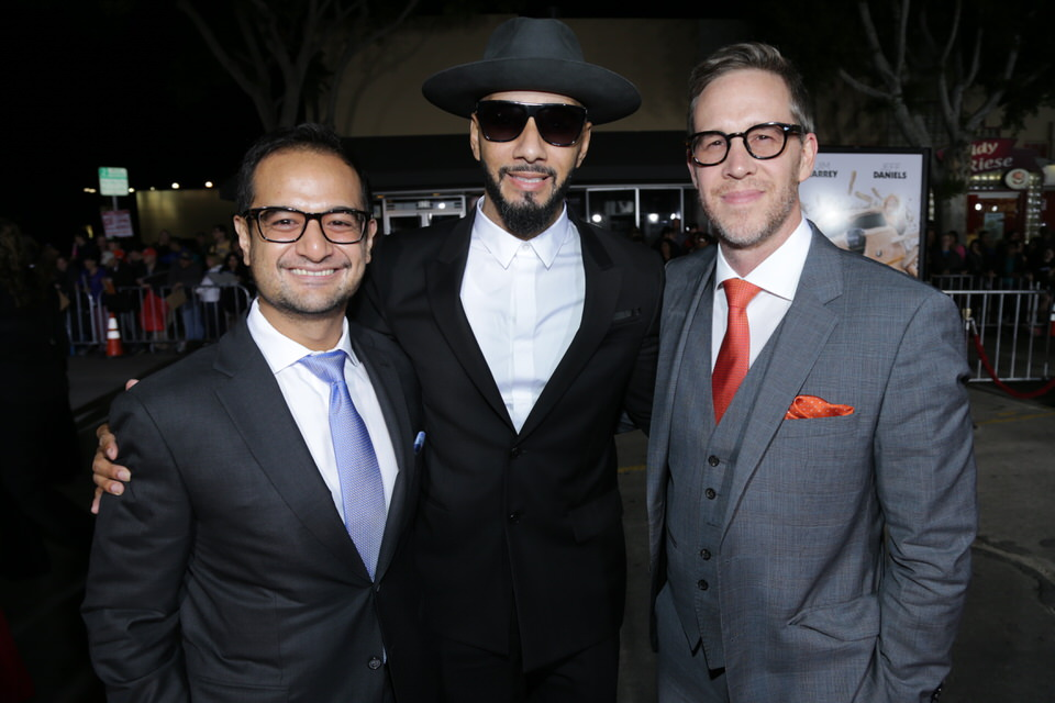 Riza Aziz and Joey McFarland from Red Granite Pictures with Swizz Beatz