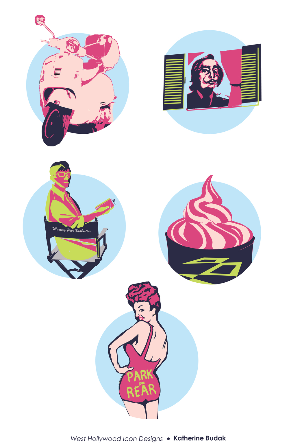 An assortment of icons for my hometown, West Hollywood.