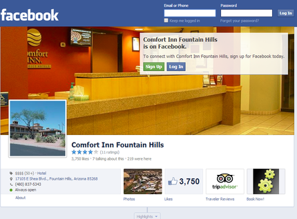 The Comfort inn located in beautiful Fountain hills Arizona has chosen our company to exclusively take care of their Social media channels including Facebook, Google + and more.