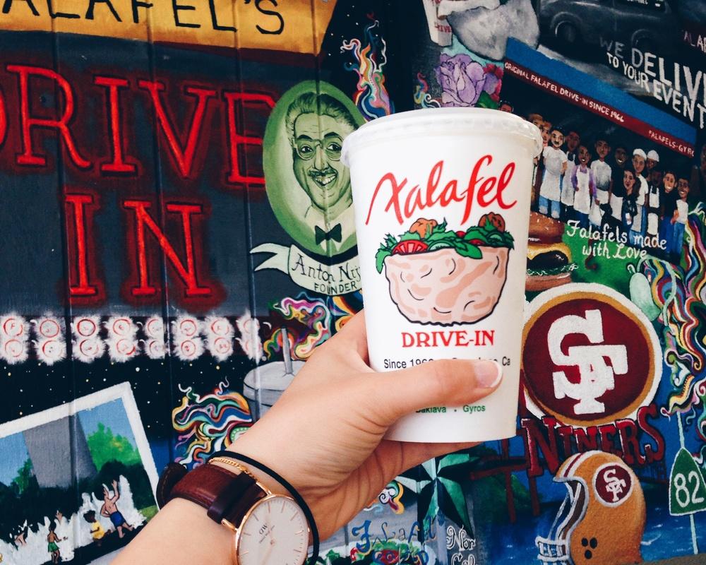 Falafel's Drive-In. Banana milkshake!