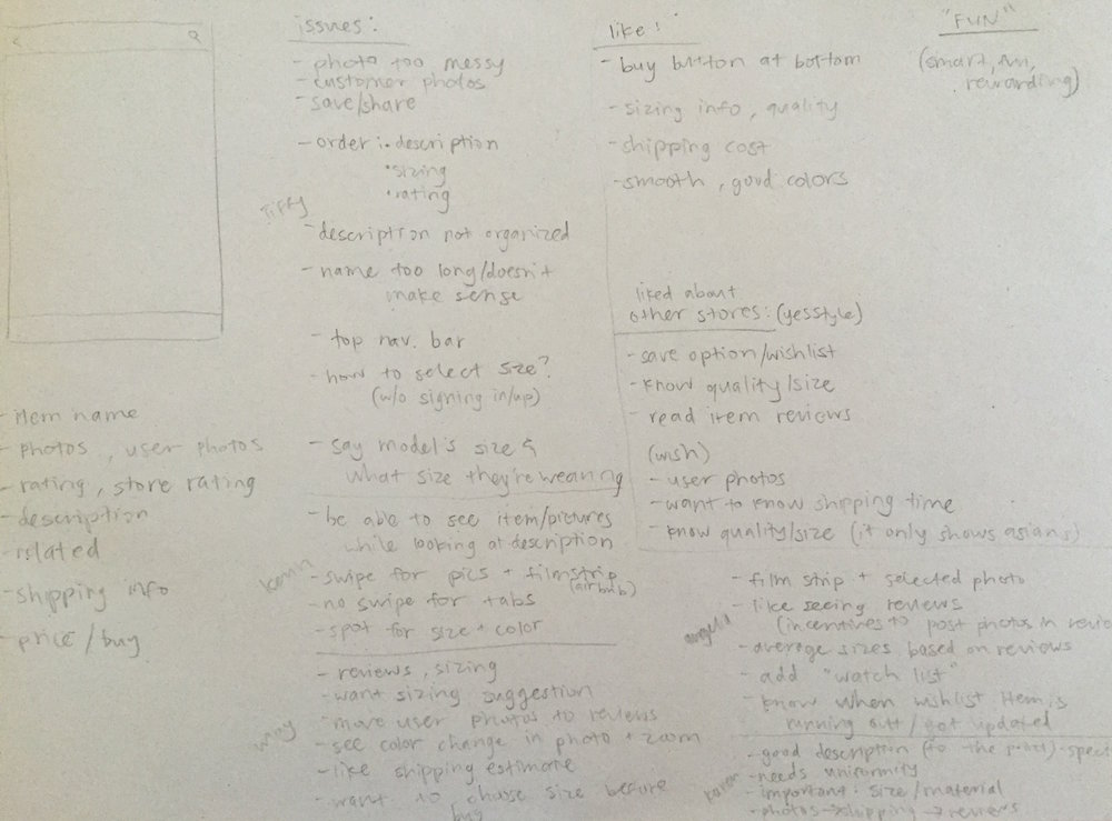 Some notes I took while surveying users
