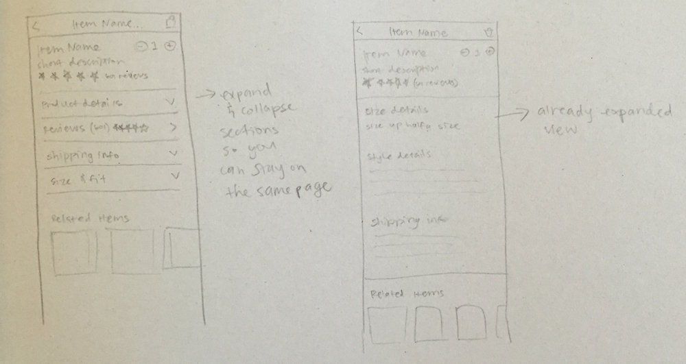 Some rough sketches of the product description and details section.