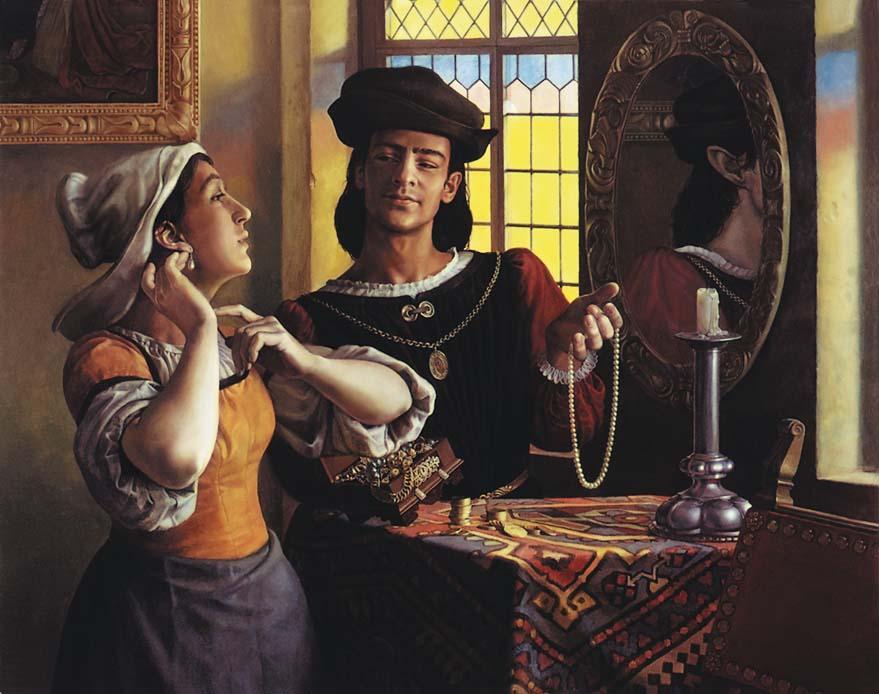 Картина «Искушение служанки». В качестве моделей выступили сам художник и его супруга Екатерина Бессонова. 1990-е гг.