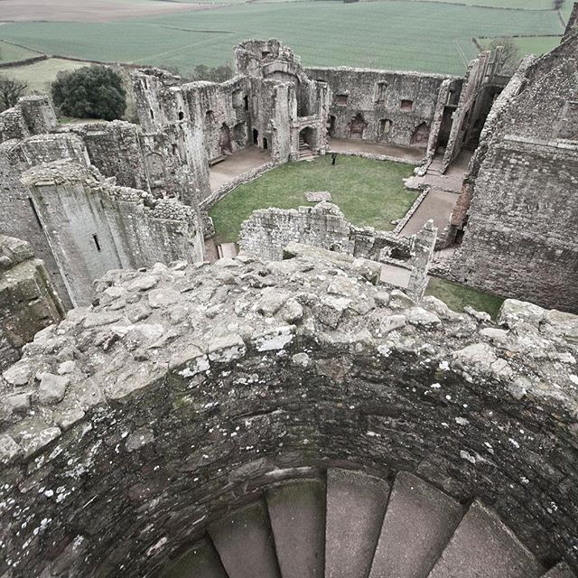 Storming the keep at Raglan Castle. #cadw #raglan #castle #olderthanamerica #spiralstair