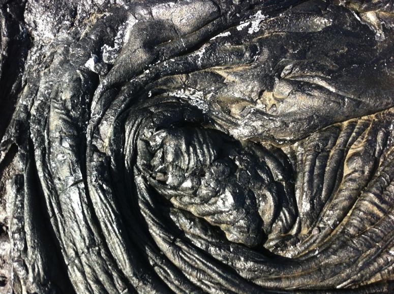 Hardened pahoehoe lava at Kaimu today